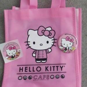 Hello Kitty Cafe Promo Tote Bag Sticker Pin SET